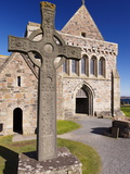 Replica of St John's Cross Stands Proudly in Front of Iona Abbey  Isle of Iona  Scotland