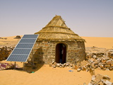 Traditional House With a Solar Panel in the Sahara Desert  Algeria  North Africa  Africa