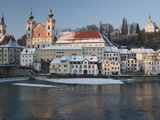 Baroque Michaelerkirche Church and Buildings at Confluence of Steyr and Enns Rivers  Austria