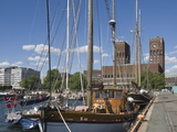 Tall Ships Anchored in Oslo Harbour  the Town Hall in the Background  Oslo  Norway