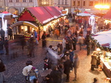 Stalls and People at Christmas Market at Dusk  Old Town Square  Stare Mesto  Prague