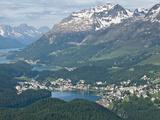 View of St Moritz From Atop Muottas Muraglm Switzerland  Europe