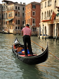Evening Picture of a Gondolier on the Grand Canal  Venice  Veneto  Italy  Europe