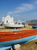 White Chapel With Blue Dome  Harbour and Boats  Hora  Mykonos  Cyclades  Greek Islands  Greece