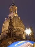 Nativity Scene at Christmas Market in Front of Frauen Church  Neumarkt  Dresden  Germany
