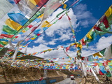 Prayer Flags Crossing the Friendship Highway Between Lhasa and Kathmandu  Tibet  China  Asia