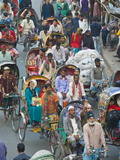 Busy Rickshaw Traffic on a Street Crossing in Dhaka  Bangladesh  Asia
