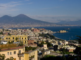 Cityscape and Mount Vesuvius  Naples  Campania  Italy  Europe