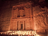 Nightime Tourist Show in Candlelight  in Front of the Treasury (El Khazneh)  Petra  Jordan