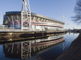Reflection of Millennium Stadium in River Taff  Cardiff  Wales  United Kingdom  Europe