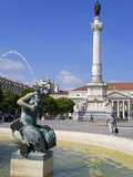 Dom Pedro Monument in the Rossio District  Lisbon  Portugal  Europe