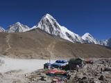 Gorak Shep Lodges  Kala Pattar and Pumori  7165M  Sagarmatha National Park  Himalayas