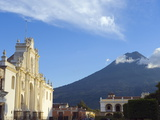 Volcan De Agua  3765M  and Cathedral  Antigua  UNESCO World Heritage Site  Guatemala