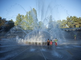 Children Play in the Fountain at Seattle Center  Seattle  Washington State  USA