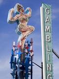Historic Lucky Lady Neon Sign on Fremont Street  Las Vegas  Nevada