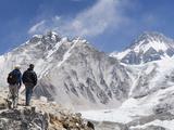 Trekkers Looking at the Western Cwm Glacier  Sagarmatha National Park  Himalayas
