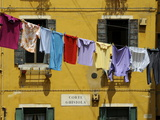 Clothes Hanging on a Washing Line Between Houses  Venice  Veneto  Italy  Europe