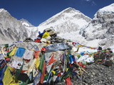 Prayer Flags at the Everest Base Camp Sign  Sagarmatha National Park  Himalayas