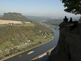 View of the Elbe River From Konigstein Fortress  Saxony  Germany  Europe