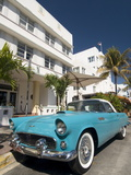 Classic Antique Thunderbird  Art Deco District  South Beach  Miami  Florida  USA