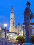 Night Illumination  Tower of Onze Lieve Vrouwekathedraal  Antwerp  Flanders  Belgium  Europe