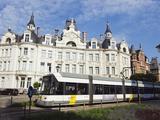 Tram and Art Deco Architecture  Antwerp  Flanders  Belgium  Europe