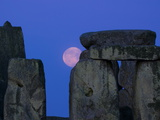 Moon Behind Stonehenge  UNESCO World Heritage Site  Wiltshire  England  United Kingdom  Europe