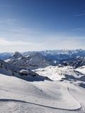 Skiers  Mountain Scenery in Cervinia Ski Resort  Cervinia  Valle D'Aosta  Italian Alps  Italy