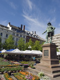 Flower Market and Statue of Christian Iv  Oslo  Norway  Scandinavia  Europe