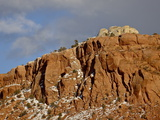 Red Rock Cliff With Snow  Carson National Forest  New Mexico