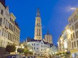 Tower of Onze Lieve Vrouwekathedraal and Street Illuminated at Night  Antwerp  Flanders  Belgium