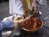 Feet Washing Ritual During Maundy Thursday Celebration in a Catholic Church  Paris  France  Europe