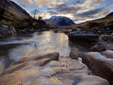 Winter View Along Partly-Frozen River Etive Towards Distant Mountains  Rannoch Moor  Scotland