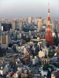 Aerial Metropolitan Tokyo and Tokyo Tower From Atop the Mori Tower at Roppongi Hills  Tokyo  Japan