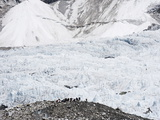 Trekkers Below the The Western Cwm Glacier at Everest Base Camp  Himalayas