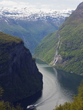 Tourist Cruise Ship on Geiranger Fjord  Western Fjords  Norway  Scandinavia  Europe