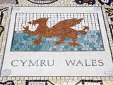 Tile Mosaic of Welsh Crest at Millennium Stadium  Cardiff City  Wales  United Kingdom  Europe