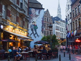Outdoor Cafes and Brousaille Wall Mural of a Couple Walking Arm in Arm  Brussels  Belgium  Europe