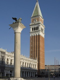 The Lion Column and the Campanile  St Marks Square  Venice  Veneto  Italy