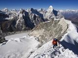 Climber on Summit Ridge of Island Peak  Solu Khumbu Everest Region  Sagarmatha National Park