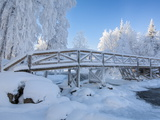 Wooden Footbridge in Winter  Oulanka National Park  Finland  Scandinavia  Europe