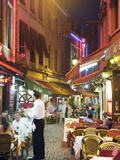 Outdoor Dining in Narrow Street of Restaurants  Brussels  Belgium  Europe