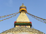 Pigeons and Prayer Flags on Boudha Stupa (Chorten Chempo)  Boudhanath  Kathmandu  Nepal  Asia