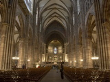 Nave of Notre-Dame Gothic Cathedral Built in Red Sandstone  Strasbourg  Alsace  France  Europe