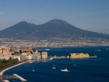 Cityscape Including Castel Dell Ovo and Mount Vesuvius  Naples  Campania  Italy  Europe