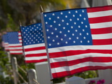 Us Flags Attached to a Fence in Key West  Florida  United States of America  North America