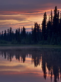 Sunset at An Unnamed Lake Near Salmo Lake  Alaska Highway  Yukon Territory  Canada  North America