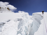 Mountain Guide Traversing a Crevasse  Island Peak  Sagarmatha National Park  Himalayas