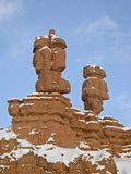 Red Rock Pillars With Fresh Snow  Red Canyon  Dixie National Forest  Utah  USA