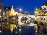 Reflection of Arched Bridge and Waterfront Town Houses  Ghent  Flanders  Belgium  Europe